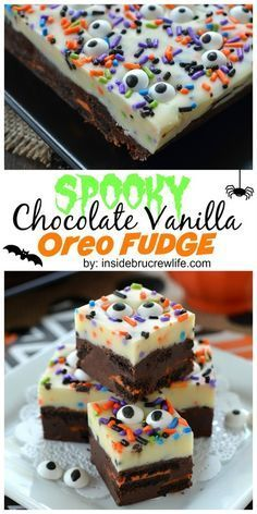 Chocolate and vanilla fudge layers with OREO chunks and sprinkles. Chocolate and vanilla fudge layers with OREO chunks and sprinkles. Halloween Sweets, Halloween Baking, Halloween Goodies, Halloween Food For Party, Halloween Cakes, Spooky Halloween, Easy Halloween Deserts, Halloween Dessert Recipes, Halloween Ideas