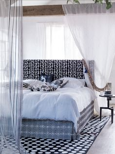 Monochrome | Bedroom | Pattern clash | Black and white | Curtains | Livingetc