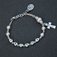 First Holy Communion Gift for Girls - Personalized Name Swarovksi Sparkly White Crystal Pearl Rosary Bracelet - Adjustable Sizing