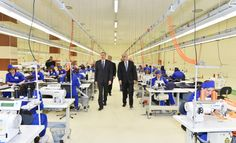 """President of the Republic of Azerbaijan Ilham Aliyev has attended the opening of the """"Alyans Tekstil"""" sewing factory in the city of Sumgayit. Garment Manufacturing, Showroom Design, Sewing Studio, Sewing Hacks, Casual Shirts, Workshop, Ceiling, Mens Fashion, Projects"""