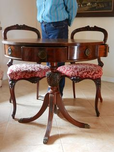 Duncan Phyfe drum round table, Queen Ann style pair open back chairs, claw footed, legs splayed, Mother's Day special gift or office decor