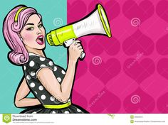 Pop Art Girl With Megaphone. Woman With Loudspeaker. Girl Announcing Discount Or Sale. Shopping Time. Stock Illustration - Image: 56563313