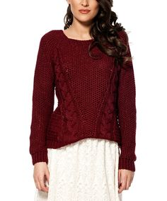 Burgundy Cable-Knit Boatneck Sweater   zulily