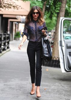 Miranda Kerr Style Muse Wearing A Navy White Polka Dot Sheer Shirt Black Trousers Beige Heels