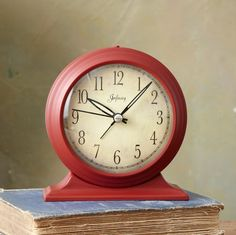 TIME TESTED CLOCK: An age-mellowed face and hefty steel casing lend this clock vintage appeal. Antique Clocks, Vintage Clocks, Red Clock, Red Cottage, Retro Color, Color Red, Red Gingham, Desk Accessories, Household Items