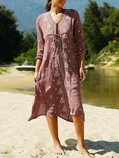 Bohemia Half Sleeve V Neck Beach Maxi Dress
