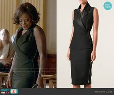 Annalise's black sleeveless dress on How to Get Away with Murder.  Outfit Details: https://wornontv.net/52318/ #HTGAWM