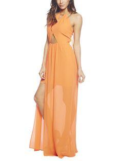 Cutout Chiffon Halter Maxi Dress | Arden B.