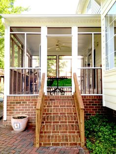 How to spruce up your porch for Summer is today's Video and DIY post. Tips to get your porch and patio ready for Summer entertaining. Screened Porch Designs, Screened In Porch, Outside Living, Outdoor Living, Vintage Screen Doors, Brick Steps, Porch Addition, Screen House, Porch Steps