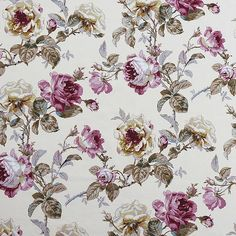 ROSES ONE - CHINTZ Beautifully coloured linen mix fabric with classic full-blown roses, buds and foliage in five colourways.