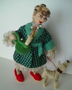 SOLD: KLUMPE or Roland Doll ~ Old Lady In Curlers & Robe with Candle & Dog On Leash