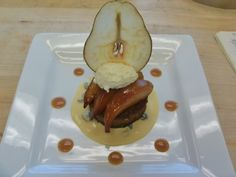 Honey Chai Spice Cake with Mascarpone Mousse & a Pear Chip