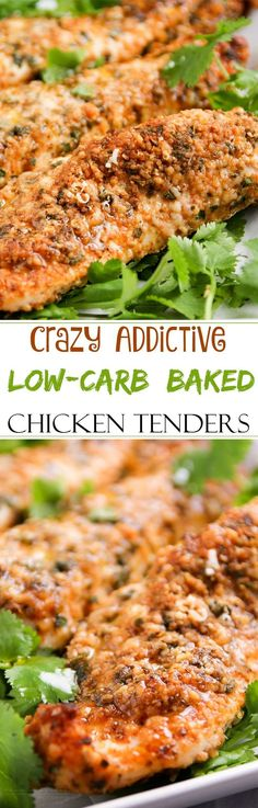 Low Carb Baked Chicken Tenders   These baked chicken tenders are coated in a deliciously savory crust, yet have zero breading, which makes for an awesomely low carb meal!
