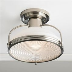 Retro Steel and Opal Glass Ceiling Light