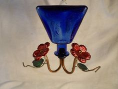 Humming Bird Feeder-Blue Lapiz Tequila Bottle Red Flowers with Perch-Hand Made by BCScollectibles on Etsy