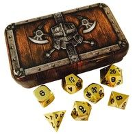 Set of 7 Metallic Polyhedral Role Playing Game Dice- Shiny Gold Color. Each Die-Cast made dice set i