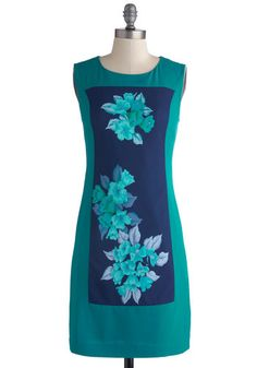 Fitted sheath dress with sarong panel.  Hibiscus Bliss Dress, #ModCloth
