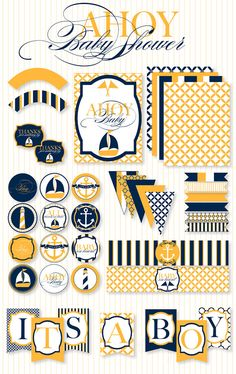 nautical navy + yellow party printable pack