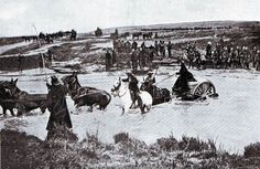 British mule drawn ammunition cart crossing a drift: Battle of Spion Kop on January 1900 in the Boer War Armed Conflict, British Soldier, Battle, South Africa, Two By Two, African, History, Soldiers, Animals
