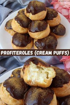 Recipe for Profiteroles (Cream Puffs) with step by step photos on how to make choux pastry. Filled with cream and topped with chocolate! #profiteroles #creampuffs #thebakingexplorer #chouxpastry #patisserie Homemade Desserts, No Bake Desserts, Delicious Desserts, Dessert Recipes, Yummy Food, Puff Pastries, Choux Pastry, Pastry Recipes, Cookie Recipes