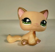 Littlest Pet Shop LPS  YELLOW and BROWN SITTING SHORT HAIR CAT #2037 rare Hasbro #Hasbro  #lps #littlestpetshop