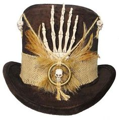 Witch Doctor Voodoo Tall Brown Top Hat Skull Bones Steampunk Gypsy Victorian