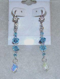 Swarovski Aquamarine Crystal Earrings by mommazart on Etsy, $14.00