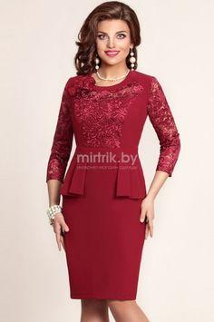 Платье VITTORIA QUEEN, Бордовый (модель 2763) — Белорусский трикотаж в интернет-магазине «Швейная традиция»