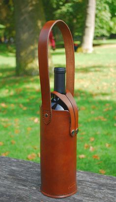 Leather single wine bottle tote. Etsy sale item.