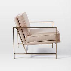 Metal Frame Chair, Luster Velvet, Celestial Blue
