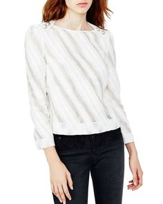 Maje Lamia Sheer Stripe Blouse
