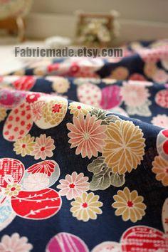 "Bright Flower Fabric, Flower Cotton Fabric, Japanese Fabric, Japan Fabric, Kimono Fabric - Blue Floral fabric 1/2 yard 18'X57"". $7.20, via Etsy."