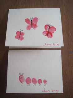 18 Trendy Ideas For Birthday Card Ideas From Toddler Kids Crafts Homemade Valentine Cards, Homemade Birthday Cards, Valentine Day Crafts, Homemade Cards, Birthday Cards To Print, Cool Birthday Cards, Fingerprint Cards, Valentine's Cards For Kids, Crafts For Kids