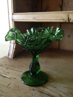 Vintage Green Fenton Candy/Compote Dish <3 <3 <3