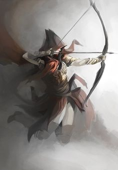 She emerged from the fog, her face hidden by her cloak as she pulled the arrow back, aiming swiftly for the enemy before disappearing once again, leaving her enemy dead, crumpled on the ground. ~Wilted Rose~