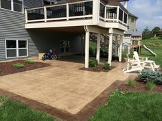 Stamped concrete patio with simulated wood plank boarders by Sierra Concrete Arts. Concrete Patios, Concrete Art, Stamped Concrete, Outdoor Ideas, Backyard Ideas, Outdoor Decor, Boarders, Wood Planks, Curb Appeal