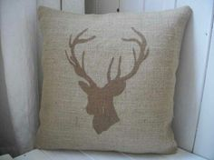 Burlap pillow with deer stencil