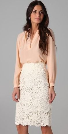 Spring / Summer - business casual - casual look - office wear - work outfit - Nude or coral chiffon shirt + white lace pencil skirt Work Fashion, Modest Fashion, Street Fashion, Modest Outfits, Feminine Fashion, Kimono Fashion, Fall Fashion, White Floral Dress, White Lace Skirt