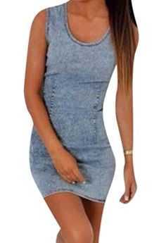 d17a306b34b Abetteric Womens Sleeveless Bodycon Bandage Denim Dress As Picture XS     Click for Special Deals