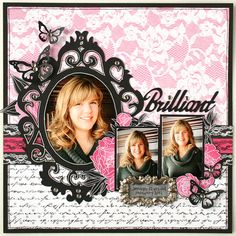 Pink Lacy Girl's Page...with gorgeous black frame & accents.