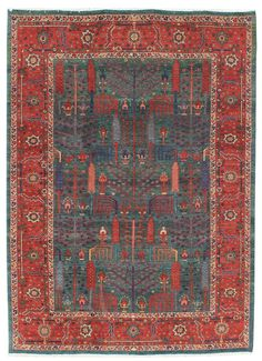 Geometric Oriental Rugs Gallery: Persian Heriz Rug, Hand-knotted in Persia; size: 6 feet 10 inch(es) x 9 feet 5 inch(es)