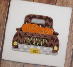 Personalized Fall Thanksgiving Autumn truck by sewcutecreations, $22.00