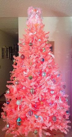 Pretty Pink Christmas Tree With One Of My Angel Toppers Preppy