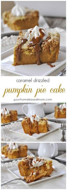 Caramel Drizzled Pumpkin Pie Cake Dessert Recipe - Instead of pumpkin pie this year, try this yummy pumpkin pie cake. All the flavor and goodness of pie but so much easier in cake form! (fall treats for a crowd) Apple Recipes, Pumpkin Recipes, Fall Recipes, Holiday Recipes, Holiday Ideas, Fall Desserts, Just Desserts, Delicious Desserts, Yummy Food