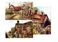 3 x ARTIST SIGNED OLD POSTCARDS COUNTRY COTTAGES & GARDENS SALMON SAME SERIES