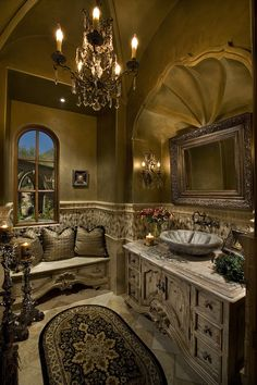 Powder Baths - mediterranean - powder room - phoenix - Fratantoni Luxury Estates
