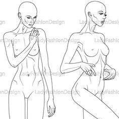 Figure Drawing - Fashion Body Template Illustration 17B18B -
