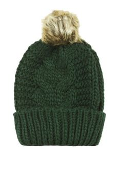 Cable Faux Fur Pom Beanie - Green fa4eacf4471