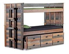 Morgan Creek Multicolor XL Bunk Beds with Trundle – Paletten projekte Full Size Bunk Beds, Bunk Bed With Trundle, Bunk Beds With Stairs, Kids Bunk Beds, Pallet Bunk Beds, Bed Pallets, Custom Bunk Beds, Modern Bunk Beds, Pallet Furniture