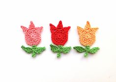 Crochet tulips applique red flower appliques by MadeByElina